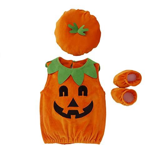 I3CKIZCE Completo di Halloween Tutina Pagliacetto Bambino Neonata Unisex 0-4 Anni 3 Pezzi Cosplay Zucca Stampa Costume Carino Gilet + Cappello + Calzino Feste (Arancia-a, 1-2 Anni)