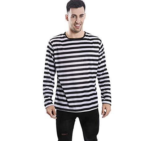 EUROCARNAVALES Camiseta con Rayas Negras y Blancas para Adultos