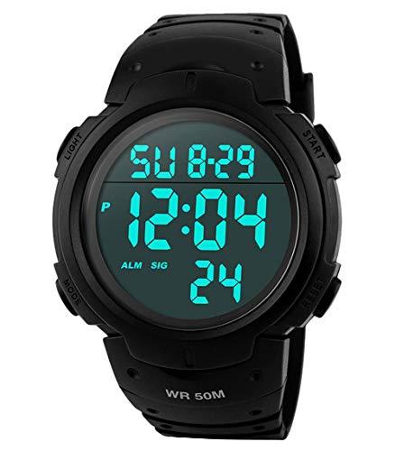 Orologi da uomo sportivo digitale - 50 m impermeabile sport orologio con cronometro, nero Big Face...
