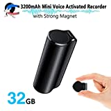 Mini Voice Activated Recorder, 32GB Super Long 800 Hours Recording Capacity, 365 Standby Battery, Audio Sound Recording Continuous Listening Device with Strong Magnetic (Black-70)