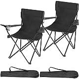 TecTake 800829 Lot de 2 Chaises de Camping Pliantes Portables 2 Places avec Porte-Gobelets et 2 Sacs de Transport – Diverses Couleurs (Noir)
