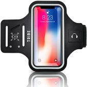 TRIBE Water Resistant Cell Phone Armband Case for iPhone X, Xs, 8, 7, 6, 6S Samsung Galaxy S9, S8, S7, S6, A8 with Adjustable Elastic Band & Key Holder for Running, Walking, Hiking