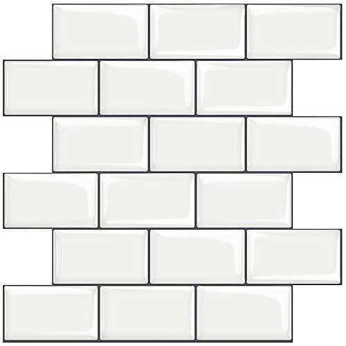 STICKGOO 10-Sheet White Subway Tiles Peel and Stick Backsplash,...