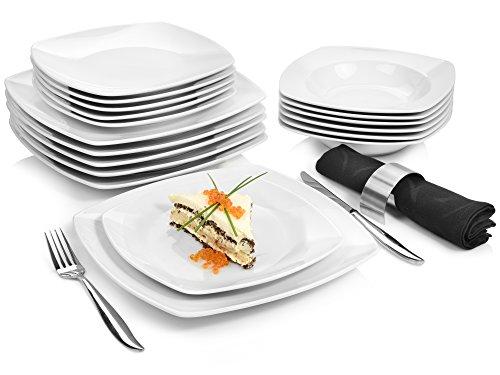 Sänger Tafelservice \'Markant\' aus Porzellan 18 teilig   Geschirrset beinhaltet Speise-, Suppen- und Dessertteller   Elegantes Geschirrservice für bis zu 6 Personen