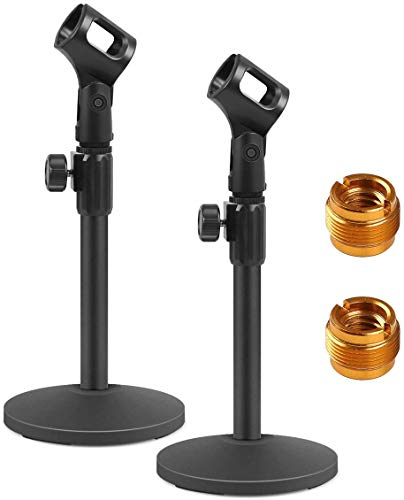 InnoGear Desktop Microphone Stand, Upgraded Adjustable Table Mic Stand with Mic Clip and 5/8' Male to 3/8' Female Screw for Blue Yeti Snowball Spark & Other Microphone, Pack of 2