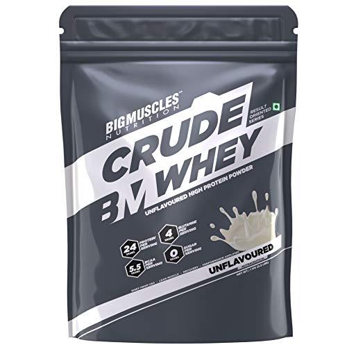 Bigmuscles Nutrition Crude Whey 1kg, Whey Protein, 24g Protein, 5.5g BCAA, 4 g Glutamine