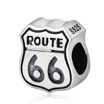 Breloque Route 66 en argent sterling 925 pour bracelet en perles de voyage - Cadeau idéal pour les vacances
