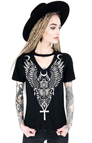 Restyle T-Shirt con Gargantilla Ancient Scarab Negro (XL - ES 44)