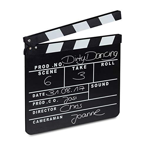 Relaxdays 10021346 Ciak Cinema in Legno, Clapperboard da Regista, Accessori Set Cinematografico,...