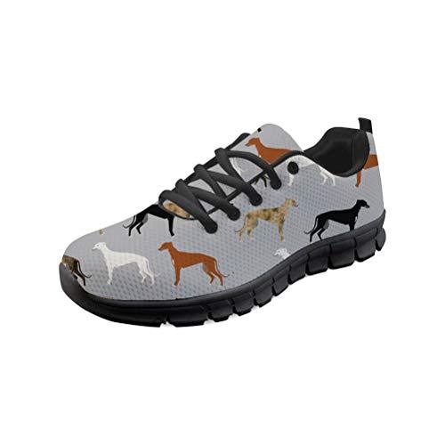 chaqlin Zapatillas deportivas deportivas ligeras de malla para mujer, transpirables, con estampado de galgos de animales, para hombre, color, talla 41 EU