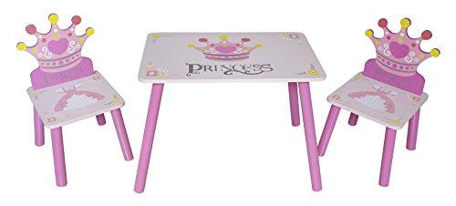 Kiddi Style Prinzessinnen Kindersitzgruppe – 1x Kindertisch & 2x Kinderstuhl – stylische Prinzessin Sitzgruppe & Kindersitzgruppe in Rosa mit Tisch & Stühlen für Mädchen
