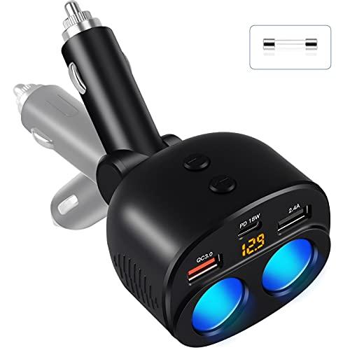 OOWOLF Cigarette Lighter Adapter, 100W 2-Socket Car Charger 12/24V 1 PD Port QC 3.0 Cigarette Lighter Splitter Separate Switch LED Voltage Display Built-in Replaceable 10A Fuse