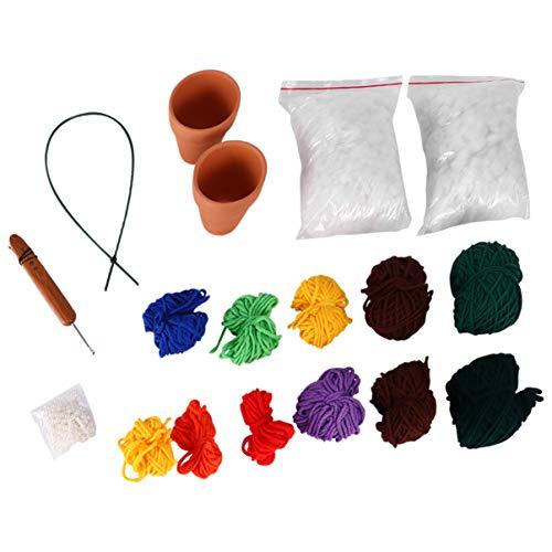 Artibetter kit de cacto de crochô diy amigurumi fio de malha agulhas de gancho de crochô feltragem tricá´ artesanato kit de ferramentas para adultos crianças artes artesanato