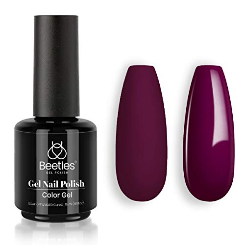 Beetles Gel Nail Polish 15ml Vanessa Wine Pruple Burgundy Red Color Nail Fall Winter Nail Gel PolishSoak Off LED Nail Lamp Gel Polish Nail Art Manicure Salon DIY Home Christmas Gel 0.5Oz
