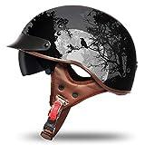 VCOROS Motorcycle Half Helmet Sun Visor Quick Release Buckle DOT Approved Half Face Cycling Helmets for Men Women (Dark Night, XXL)