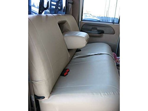 Durafit Seat Covers Made to fit 1999-2007 F250-F550 Rear Bench Seat with Integrated Armrests and Drink Tray Seat Covers in Taupe Velour