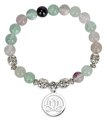 Lotus Crystal Fluorite Healing Energy Bead Bracelet for...