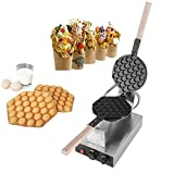 Egg Waffle Maker, Electric Stainless Steel Non Stick Hong Kong Style Bubble Egg Waffle Cake Oven Puff Bread Maker Bake Machine