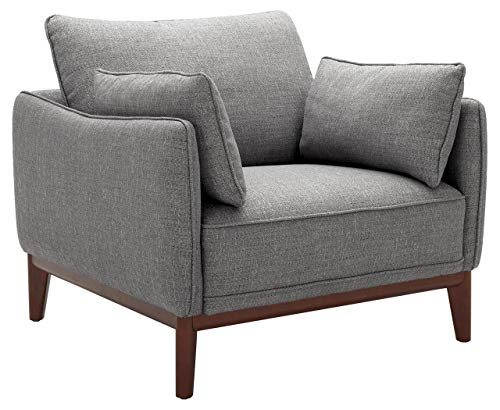 Amazon Brand – Stone & Beam Hillman Mid-Century Living Room Chair with Wood Base and Legs, 39'W, Fog Gray