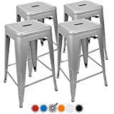 """UrbanMod 24"""" Counter Height Bar Stools 330lb Capacity Gray Kitchen Chair Island Outdoor Industrial Galvanized Metal, Silver"""