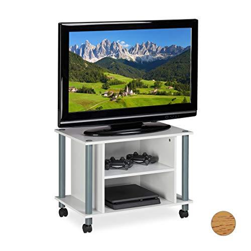 Relaxdays Mobile Ruote, 2 Ripiani, Tavolino Porta TV, Mobiletto, Bianco-Argento, Truciolato, Carta,...