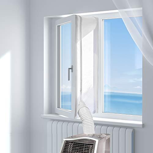 HOOMEE 400CM Guarnizione Universale per Finestre per Condizionatore Portatile, Asciugatrice Per Tutti Climatizzatori Mobili, Facile da Montare Con zip, Chiusura a Strappo