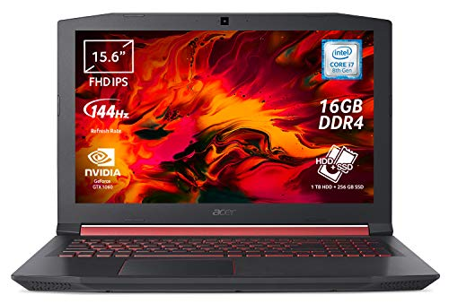 Acer Nitro 5 AN515-52-75HE Notebook Gaming con Processore Intel Core i7-8750H, RAM 16 GB, 256 GB PCIe SSD, 1000 GB HDD, Display da 15.6' FHD IPS 144Hz LCD, NVIDIA GeForce GTX 1060 6GB, Windows 10 Home