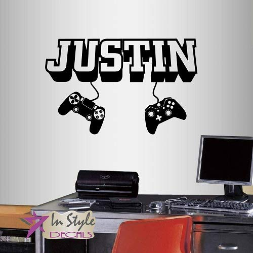 Wall Vinyl Decal Home Decor Art Sticker 3D Personalized Name Boy Girl Gamer Controller Video Game Studio Teen Nursery Play Room Removable Stylish Mural Unique Design 2508