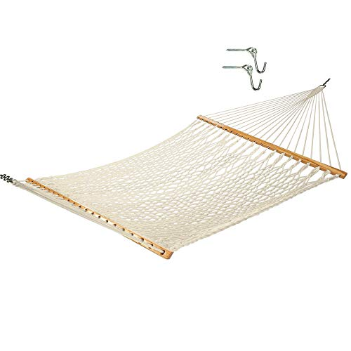 Castaway Hammocks 13 ft. Traditional Hand Woven Cotton Rope Hammock with Free Hanging Hardware and Weight Limit of 450 lb.