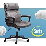 Serta Executive Office Chair Ergonomic Computer Upholstered Layered Body Pillows, Contoured Lumbar Zone, Black Base, Velvet-Gray