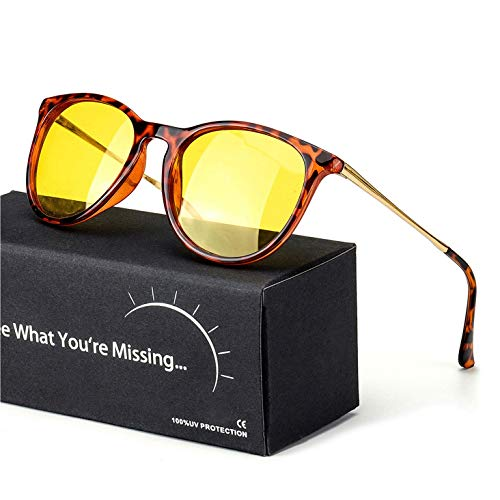 TJUTR Women's Night-Vision Glasses for Driving, HD Polarized Yellow Lens Reduce Glare Safety Nighttime UV Protection