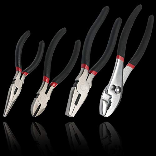 boeray 4pcs Pliers Set 6' Long Nose Pliers 6' Diagonal Pliers 8' Slip Joint Pliers 8' Linesman Pliers Home Maintenance Tool Kit for Home Repair and DIY