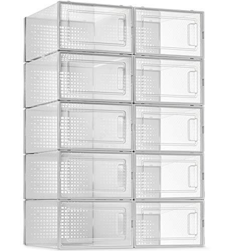 10 Pack Shoe Storage Boxes, Clear Plastic Stackable Shoe...