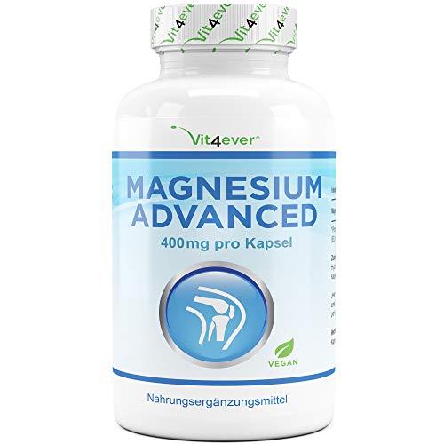Vit4ever® Magnesium Advanced - 365 Kapseln - 665 mg je Kapsel davon von 400 mg elementares (reines) - 1 Jahresvorrat - Laborgeprüft - 100{c0e15f2d80aabcb4748a21e9cc374c28cf3ad7e1b9ddc17c3b05807a407aab6b} Vegan - Hochdosiert - Ohne unerwünschte Zusätze