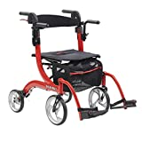 Drive Medical Nitro Duet Rollator Rolling Walker and Transport Wheelchair Chair with 2 Backrest Positions and Folding Mobility for Home, Hospital, or Nursing Facility (Red)