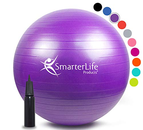 Exercise Ball for Yoga, Balance, Stability from SmarterLife - Fitness, Pilates, Birthing, Therapy, Office Ball Chair and Flexible Seating | Anti Burst, Non Slip | + Workout Ball Guide (Purple, 65 cm)
