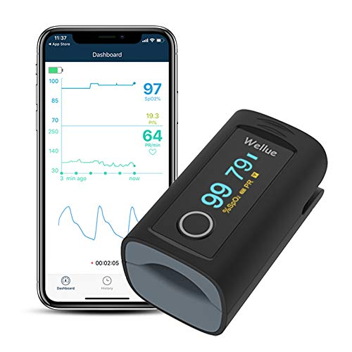 Wellue Fingertip Blood Oxygen Saturation Monitor with Alarm and Mobile Apps, Use PC-60FW Bluetooth