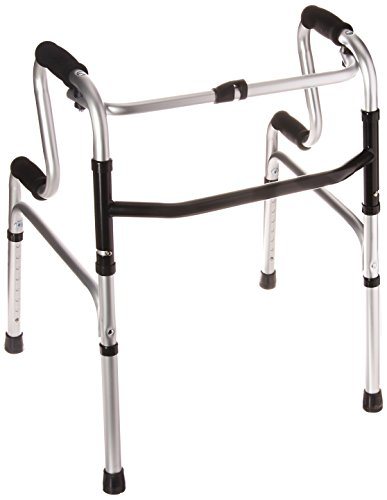 HealthSmart Toilet Safety Frame Sit-to-Stand Folding Walker, Easy To Rise, Soft Form Grips, Silver