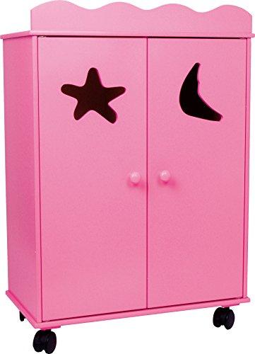 2880 Armadio per bambole Pink small foot / mobili per bambole in legno, pu essere fatto scorrere su ruote, da 3 anni in poi