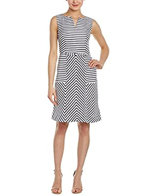 Sleeveless A-line dress in mixed stripes featuring notched neckline and banded waist