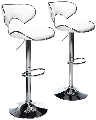 Roundhill Furniture Masaccio Cushioned White Leatherette Upholstery Airlift Swivel Barstool (Set of 2) (PC138WH)