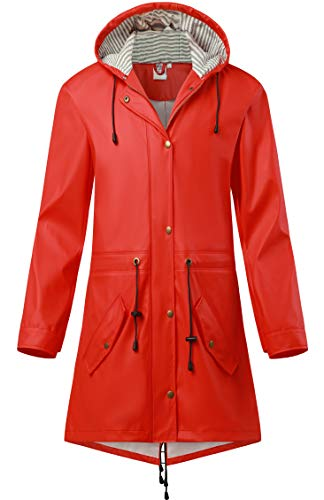 SWAMPLAND Damen PU Regenjacke Mit Kapuze Wasserdicht Übergangsjacke Regenmantel, Rot, Gr.- 40 EU/ Medium