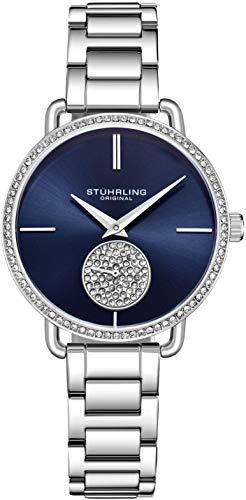 Stuhrling Original Damenuhr Krystal Diamond Analog Zifferblatt und Lünette, Edelstahlarmband 3909 Uhren für Damen Kollektion (Silver)