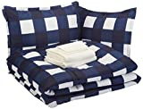 Amazon Basics 8-Piece Ultra-Soft Microfiber Bed-In-A-Bag Comforter Bedding Set - Full/Queen, Navy Oversized Gingham
