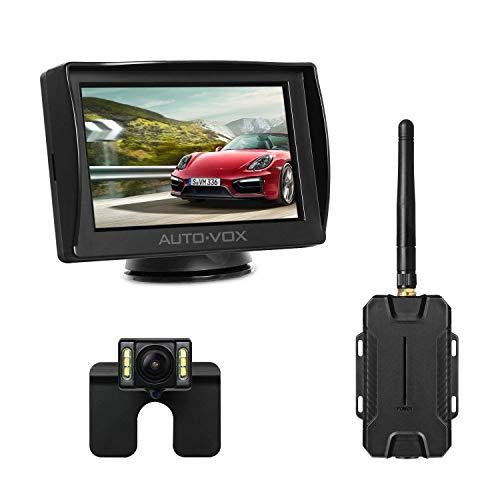 AUTO-VOX M1W Kit de cámara inalámbrica, monitor LCD de 4.3 '', cámara de visión trasera IP 68 impermeable, 6 LED de visión nocturna súper