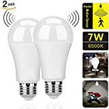 Motion Sensor Light Bulbs,7W (60-Watt Equivalent) E27 Motion Activated Dusk to Dawn Security Light Bulb Outdoor/Indoor for Front Door Porch Garage Basement Hallway Closet(Cold White 2 Pack)