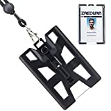 ID Badge Holder Wallet with Lanyard, Metal Clip with 4 Cards Slot, Vertical (Black)