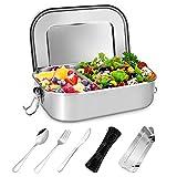 Gifort Premium Edelstahl Brotdose, Auslaufsichere Lunchbox mit Herausnehmbarer Trennwand Abtrennung, Besteck und Bestecktasche, BPA- & Plastikfreie, Bento Box [1400ml] für Kinder & Erwachsene