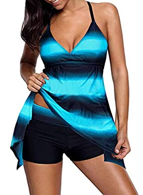 Dearlovers Plus Size Summer Color Block Tankini Swimsuits with Boyshort Bottom Adjustable shoulder straps crossed on the back, allow for easy size adjustment while built-in non-underwire cups with removable pads can best exaggerate your curve and sil...
