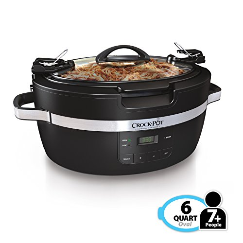 Crockpot Thermoshield Easy Carry Handles |6 Quart Manual Slow Cooker, Black